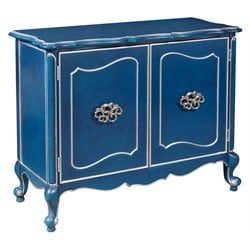 Pulaski Jordan Silver Trim Bar Cabinet in Painted Blue