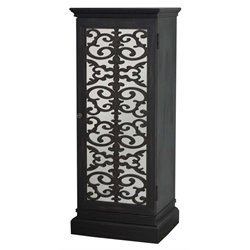 Pulaski Coralie Mirrored Door Bar Cabinet in Black