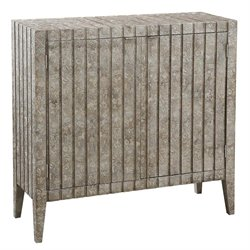 Pulaski Sylvia Carved Metallic Bar Cabinet in Taupe