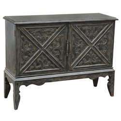 Pulaski Winnifred Carved Door Bar Cabinet in Gray