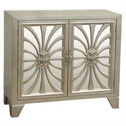 Pulaski Decatur Metallic Mirrored Door Bar Cabinet in Platinum