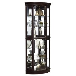 Pulaski Half Round Mirrored Curio Cabinet in Sable Brown