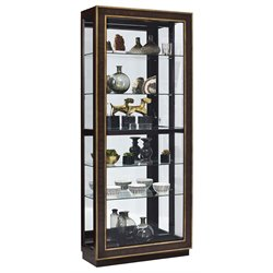 Pulaski Finley Sliding Door Curio Cabinet in Brown