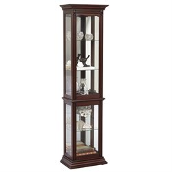 MER-1242 Mirrored Back Curio in Dark Cherry