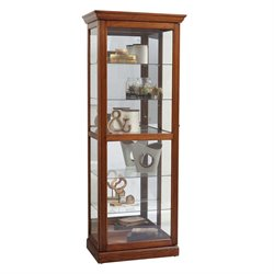 Pulaski Two Way Sliding Door Curio in Warm Oak