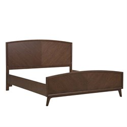 MER-1242 Modern Harmony Panel Bed in Walnut Brown