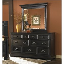 Pulaski Brookfield Dresser and Mirror Set in Ebony