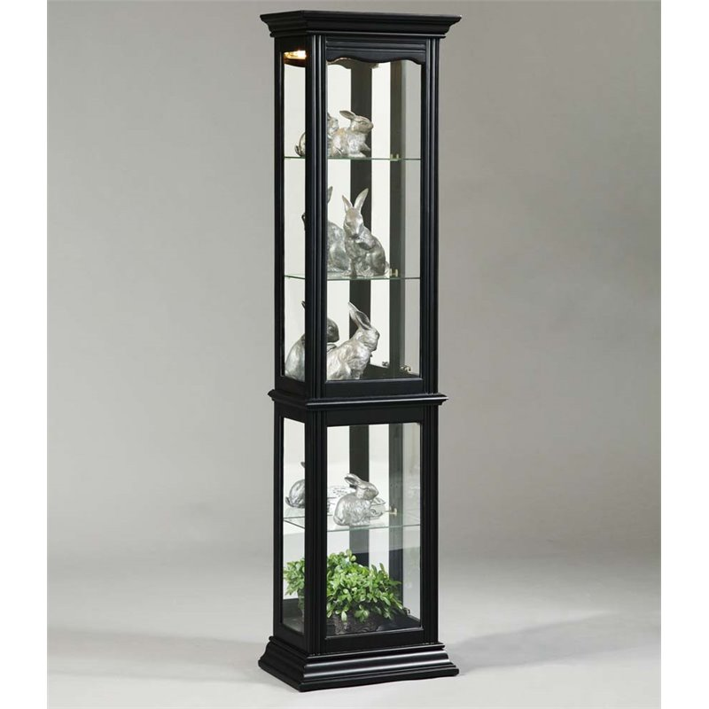 Pulaski Mirrored Back Curio Cabinet In Black 21414