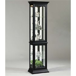 Pulaski Mirrored Back Curio Cabinet in Black