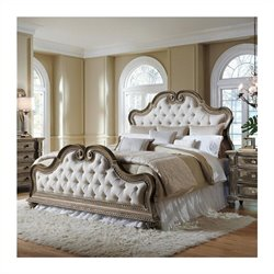 Pulaski Arabella Button Tufted Upholstered Bed in Medium Wood