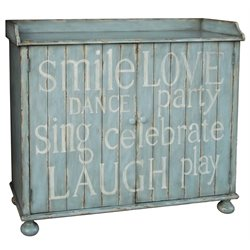Pulaski Painted Words Wine Cabinet in Distressed Blue