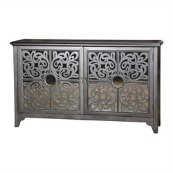 Pulaski Accents Credenza with Ornamental Fretwork and Fushia Interior