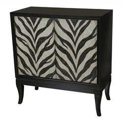 Pulaski Accents Zebra Print Hall Accent Chest in Deep Black and White