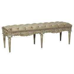 Pulaski Nuille Tufted Uphosltered Accent Bench in Rustic Beige