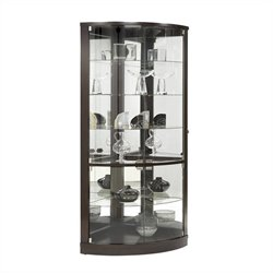 Pulaski Corner Curio Cabinet in Dark Wood