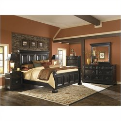 Pulaski Brookfield Panel Bed with Nightstand Dresser and Mirror in Espresso
