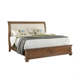 Pulaski Paxton Upholstered Bed in Medium Wood