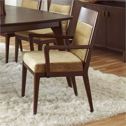 Pulaski Modern Harmony Upholstered Dining Arm Chair in Walnut Brown