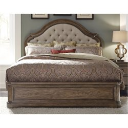 Pulaski Aurora Upholstered Panel Bed in Pecky Pecan