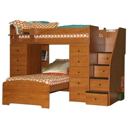 Berg Furniture Sierra Space Saver Twin over Twin Loft Bed with Chests