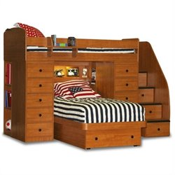 Berg Furniture Sierra Space Saver Twin over Twin Loft Bed with Storage