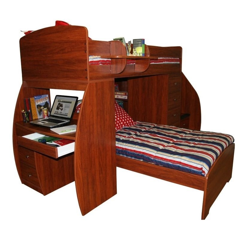 Berg Furniture Sierra Twin over Twin Loft Bed with Desk
