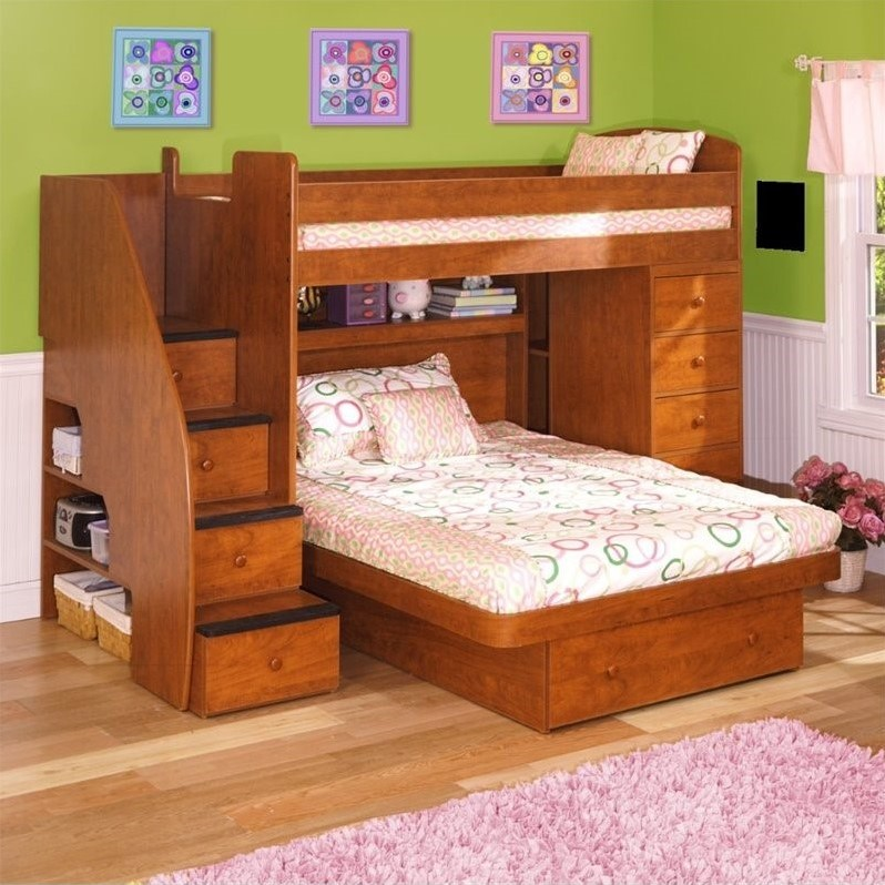 Berg Furniture Sierra Space Saver Twin over Full Loft Bed with Chest
