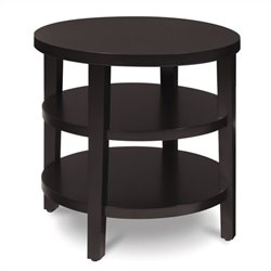 20 Inch Round Espresso End Table