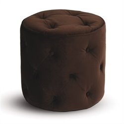 Round Tufted Ottoman in Chocolate Velvet
