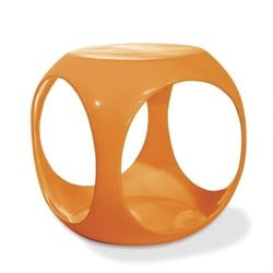 Cube Modern Occasional Table in Orange