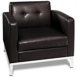 Avenue Six Wall Street Faux Leather Tufted Club Arm Chair