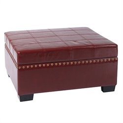 Storage Ottoman with Tray in Cherry Eco Leather