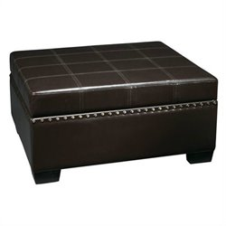 Storage Ottoman with Tray in Eco Leather