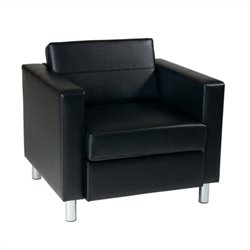 Avenue Six Pacific Leather Club Barrel Chair in Black
