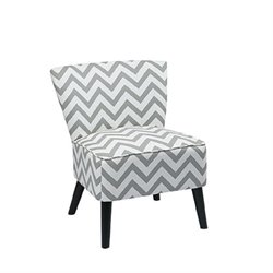 Upholstered Slipper Chair in Gray Geometric Pattern