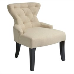 Glass Accent Chair in Linen