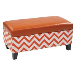 Storage Ottoman in Zig Zag Orange