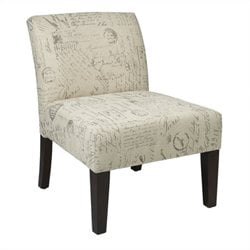 Fabric Slipper Chair in Script Ivory