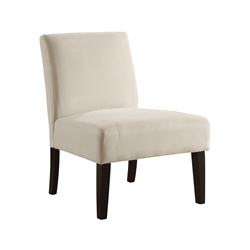 Velvet Slipper Chair in Ivory