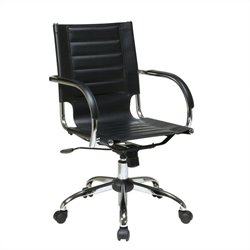 Office Chair With Fixed Padded Arms and Chrome in Black
