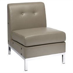 Faux Leather Tufted Slipper Chair in Gray