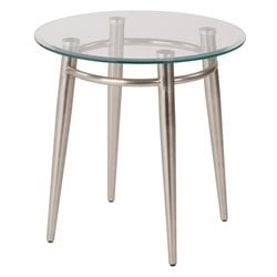 Tempered Glass Round Top End Table in Silver