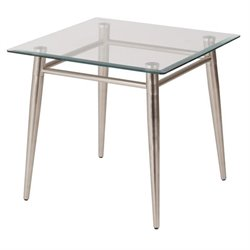 Tempered Glass Square Top End Table in Silver