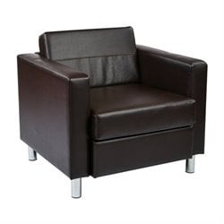 Faux Leather Accent Chair in Espresso