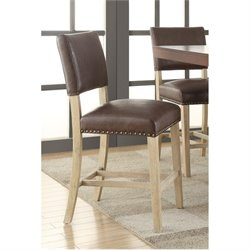 Faux Leather Counter Stool in Elite Espresso