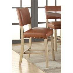 Faux Leather Counter Stool in Elite Saddle