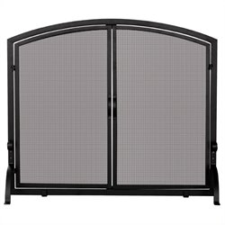 Single Large Panel Black Wrought Iron Screen with Doors