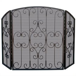 3 Fold Graphite Screen with Decorative Scrollwork