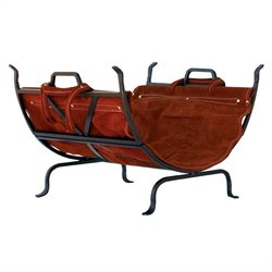 Iron Log Holder with Suede Leather Carrier