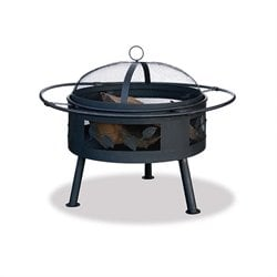 21.6 Inch Wide Aged Bronze Wood Burning Fire Pit with Leaf Design